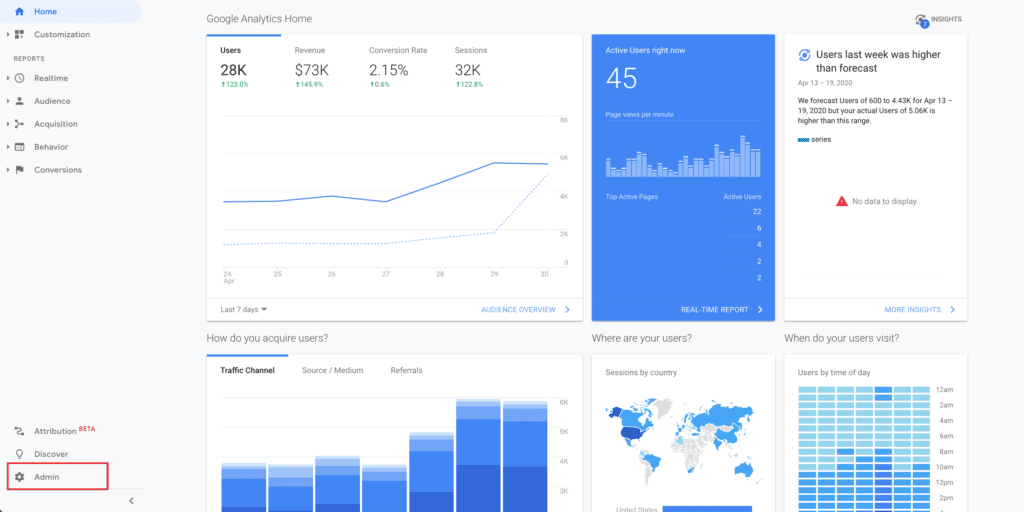 """The button in the bottom right hand corner of the main Google Analytics dashboard is """"admin""""."""
